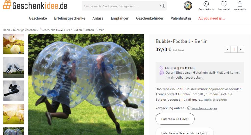 Bubble-Football ist der neueste Trend. Jetzt bei Geschenkidee bestellen und von iGraal Cashback erhalten.